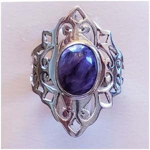 Genuine 3ct Siberian Charoite Ring Size 6